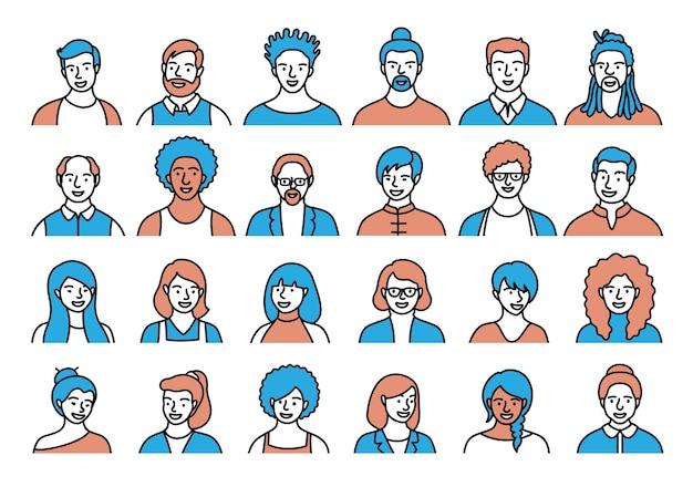 Konturowy zestaw osób, awatarów, głów osób o różnym pochodzeniu etnicznym i wieku w stylu płaskiej. ludzie wielu narodowości napotykają kolekcję ikon linii społecznościowych.