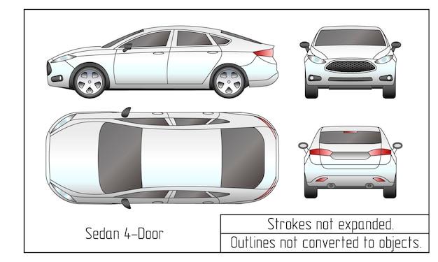 Kontury rysunkowe sedana i suv samochodu nie są konwertowane na obiekty