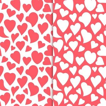 Kontury Serc Rysowane Ręcznie Romantyczny Wzór Bez Szwu Set Premium Wektorów