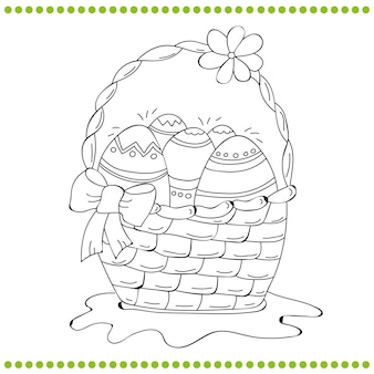 Kontury wielkanocny koszyk jaj - kolorowanka