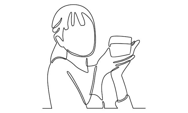 Kontynuuj linię kobiety trzymającej szklaną ilustrację kubka