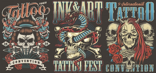 Konwencje tatuażu kolorowe plakaty vintage