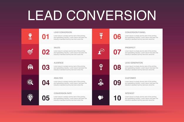Konwersja leadów infografika 10 opcji szablon.sprzedaż, analiza, perspektywy, proste ikony dla klientów
