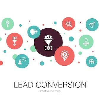 Konwersja ołowiu modny szablon koła z prostymi ikonami. zawiera takie elementy jak sprzedaż, analiza, perspektywa, klient