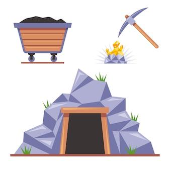 Kopalnia w skale do wydobycia. kilof uderza w kamień. drewniany wózek na węgiel. płaskie ilustracja na białym tle.