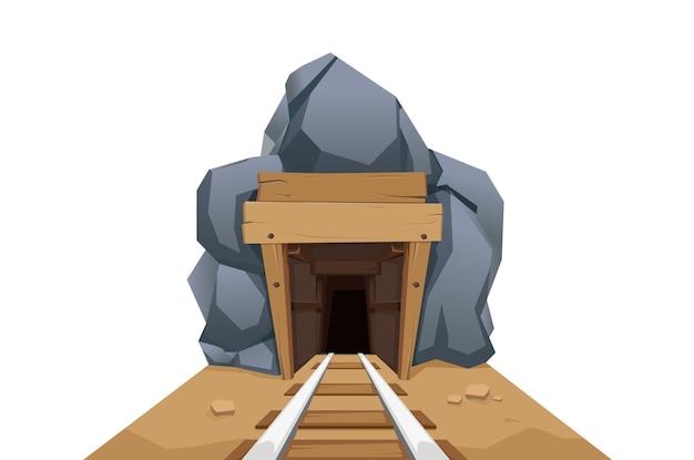 Kopalnia ze skałami i koleją jest na białym tle. projekt wektorowy w stylu kreskówki