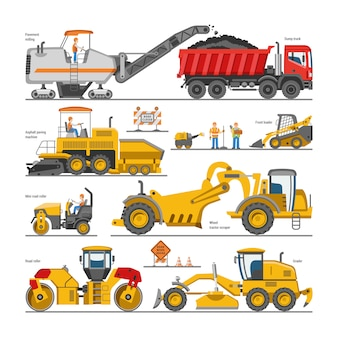 Koparka do budowy dróg koparka lub spychacz kopanie z łopatą i maszyny do kopania zestaw ilustracji pojazdów konstrukcyjnych i maszyny do kopania na białym tle