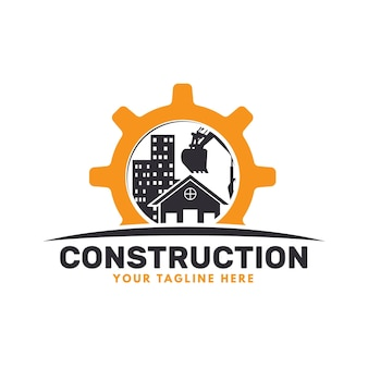 Koparka i logo budowlane z budynkami