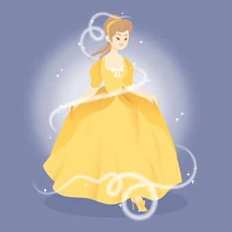 Kopciuszek księżniczka charakter ilustracja