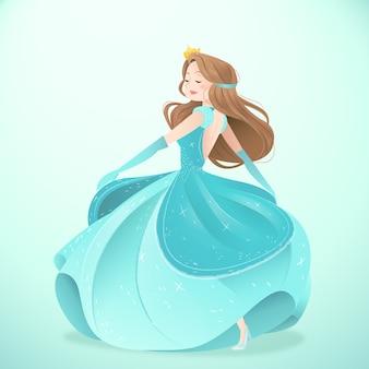 Kopciuszek na sobie piękną sukienkę