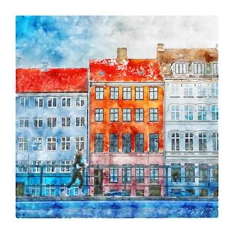 Kopenhaga dania akwarela szkic ręcznie rysowane ilustracja