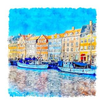 Kopenhaga, dania, szkic akwarela ilustracja