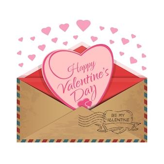 Koperta pocztowa z sercem w środku. miłosna wiadomość. romantyczny projekt na walentynki. bądź moją walentynką. ilustracja