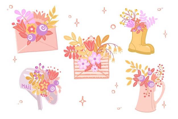 Koperta, skrzynka pocztowa, buty i dzbanek z kwiatami. płaska konstrukcja.