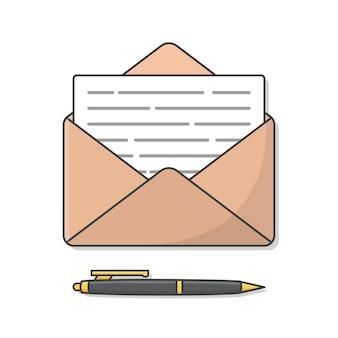 Koperta z ilustracji papieru i pióra. koperta poczta i pióro płaskie