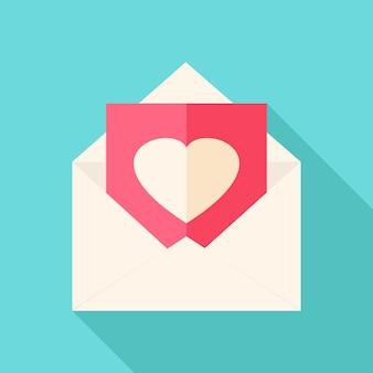 Koperta z listem miłosnym. płaski stylizowany obiekt z długim cieniem