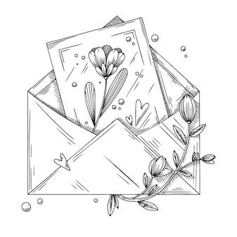 Koperta z pocztówką, kwiatami i sercami. pakiet wakacyjny. ilustracja wektorowa w stylu szkicu.