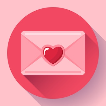 Koperta z różową czerwoną ikoną serca, szczęśliwym walentynkowym listem miłosnym, przesłaniem miłości,
