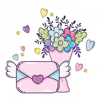 Koperta z sercem i kwiatami