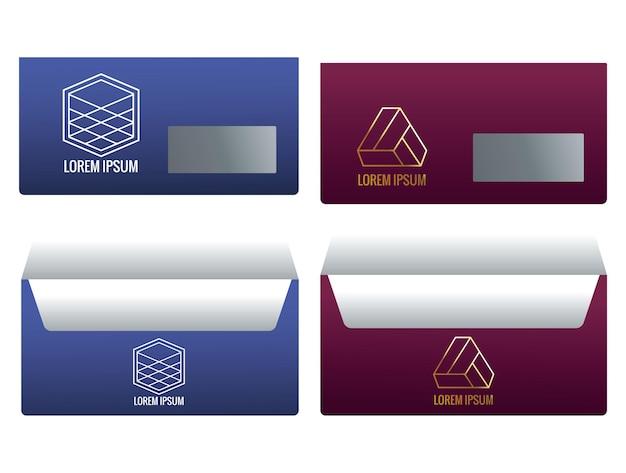 Koperty mail kolory marki ikony ilustracji