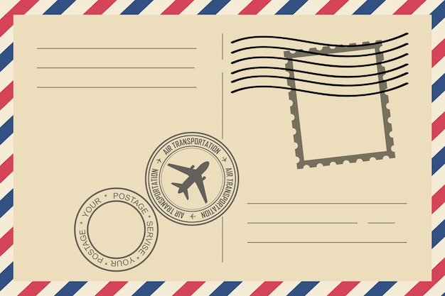 Koperty pocztą lotniczą rocznika ze znaczkiem pocztowym