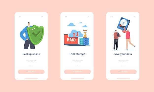 Kopia zapasowa online, szablon strony aplikacji mobilnej raid storage na pokładzie. małe postacie z ogromną osłoną ochronną i dyskiem twardym, koncepcja technologii centrum danych. ilustracja wektorowa kreskówka ludzie
