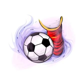 Kopnij koncepcję projektowania ilustracji gracza w piłkę