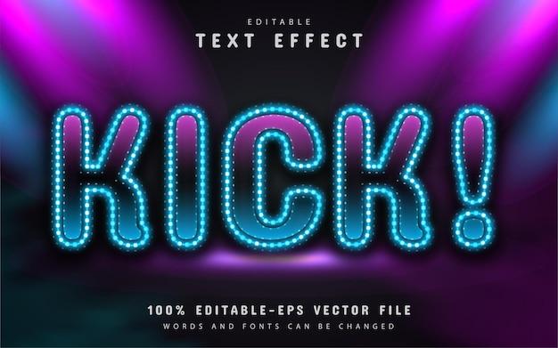 Kopnij tekst, edytowalny efekt tekstowy w stylu neonowym