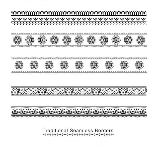Koptyjski ornament rama granicy wektor rogi.