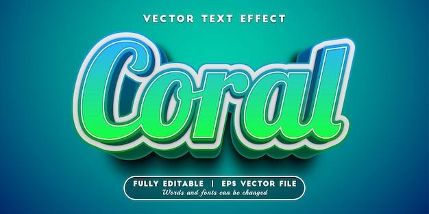 Koralowy efekt tekstowy z edytowalnym stylem tekstu