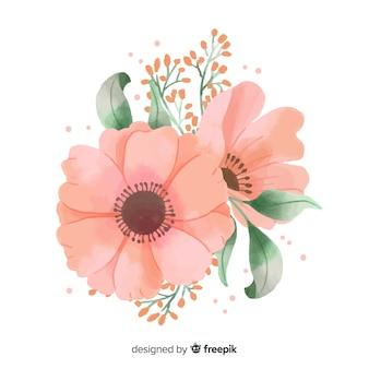 Koralowy kwiat wykonany w akwareli