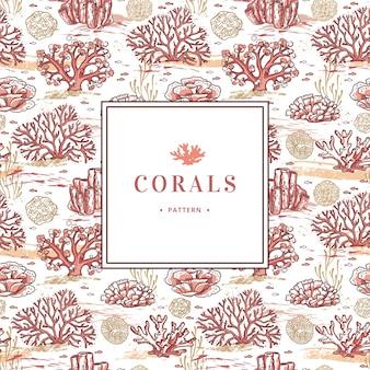 Koralowy wzór i elementy morskie rysowane ręcznie na białym tle.