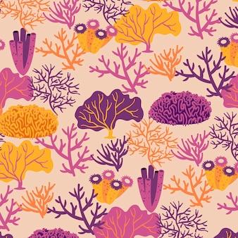Koralowy wzór z szablonem wodorostów