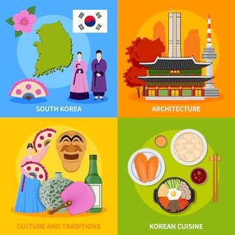 Korea kultura 4 płaskie ikony placu