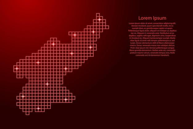 Korea północna mapa sylwetka z czerwonych kwadratów struktury mozaiki i świecących gwiazd. ilustracja wektorowa.
