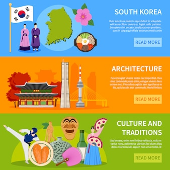. korea południowa culure flat banery design