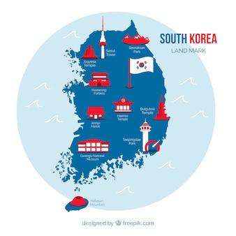 Korea południowa mapa z punktami zwrotnymi