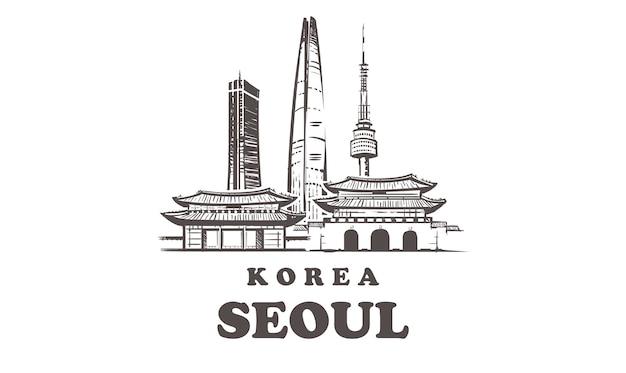 Korea, seul ręcznie rysowana architektura