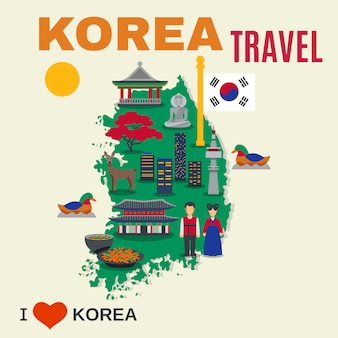 Korean culture symbols map travel poster