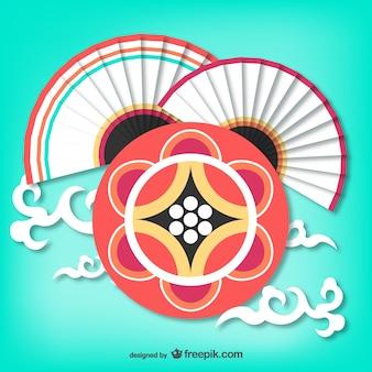 Koreańscy fani i okrągły ornament