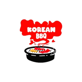 Koreańska ilustracja projektu grilla