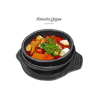 Koreański jedzenie kimchi jjigae