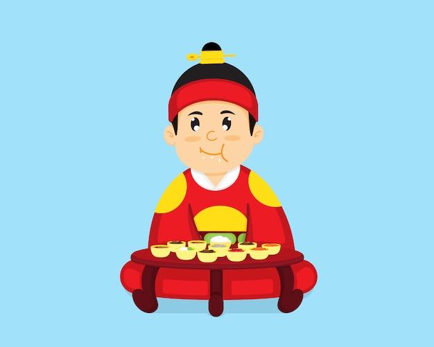 Koreański król siedzi, żeby zjeść koreańskie jedzenie.