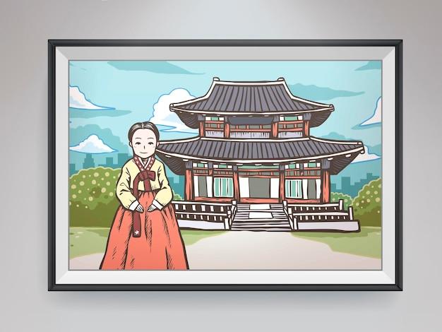Koreański obraz koncepcyjny wiszący na ścianie