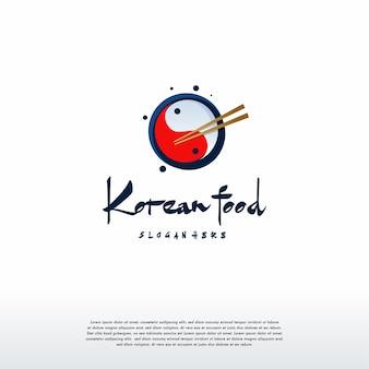 Koreański projekt logo żywności wektor koncepcji