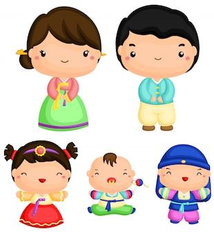 Koreański rodzina wektor zestaw