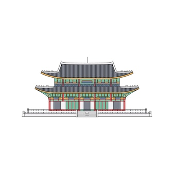 Koreański symbol orientacyjny starożytny budynek w stylu pagody szkicu ilustracja kreskówka na białym tle. turyści architektoniczni atrakcje azji.