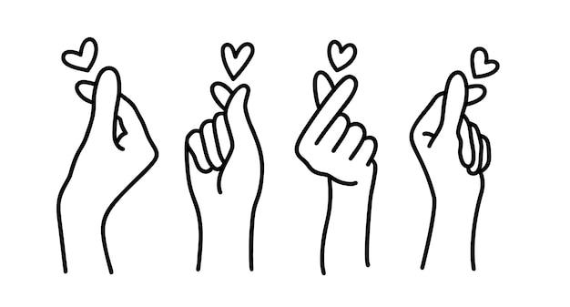 Koreański znak serca. symbol miłości palca