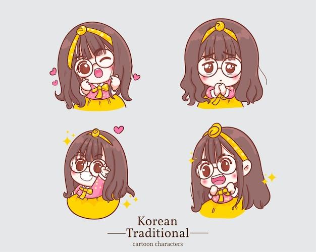 Koreańskie słodkie dziewczyny w tradycyjnej koreańskiej sukience hanbok z kreskówek. zestaw ilustracji