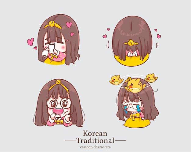 Koreańskie słodkie dziewczyny w tradycyjnych kreskówkach koreańskich sukienek hanbok. zestaw ilustracji